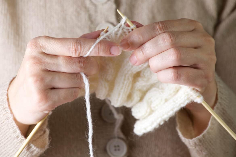 Hands Knitting A Dishcloth